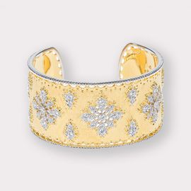 Wide Matte Gold and CZ Cuff Bracelet