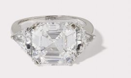 Asscher Cut CZ Ring with Trillion Cut Side Stones