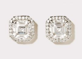 Asscher Cut CZ Stud Earrings with Pavé