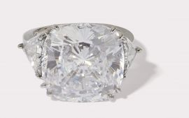 Cushion Cut CZ Ring with Trillion Cut Side Stones