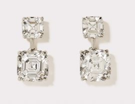 Asscher Cut CZ Drop Earrings