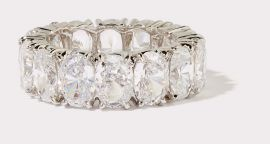 Large Oval Cut CZ Eternity Band