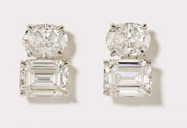 Oval and Emerald Cut CZ Drop Earrings