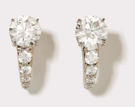 Round Cut Stud CZ Earrings with Pavé