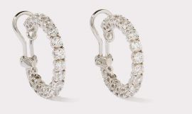 Hoop CZ Earrings with Round Cut Stones