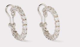 Hoop CZ Earrings with Round Cut Stones
