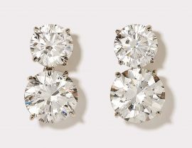 Round Cut CZ Drop Earrings