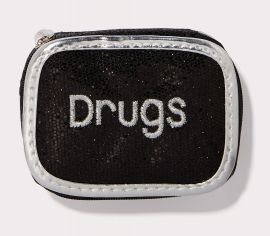 Drugs Pill Case in Black Glitter with Silver