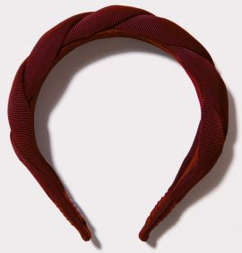 Twisted Grosgrain Headband, Burgundy