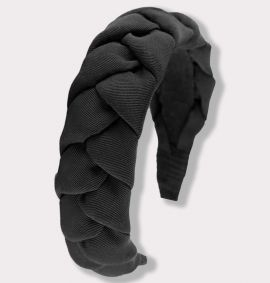 Braided Grosgrain Headband, Black