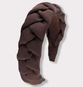 Braided Grosgrain Headband, Brown