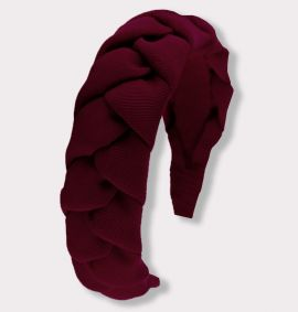 Braided Grosgrain Headband, Burgundy