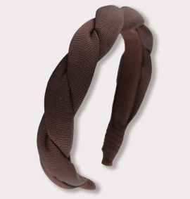 Twisted Grosgrain Headband, Brown