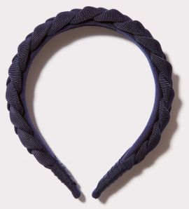 Braided Grosgrain Headband, Navy