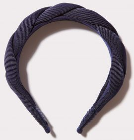 Twisted Grosgrain Headband, Navy