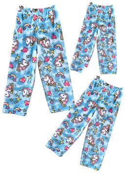 Fuzzy Flurry Blue Unicorns Pajama Pants