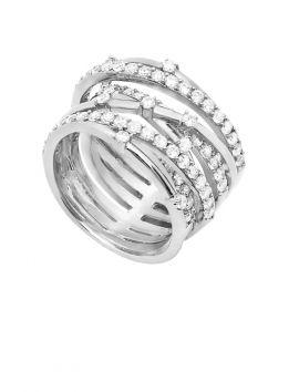 CZ Ring of 6 Twisted Bands
