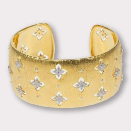 Wide Gold and CZ Cuff Bracelet