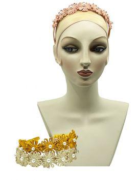 Azalea Straw Palm Flower Headband with Pearls