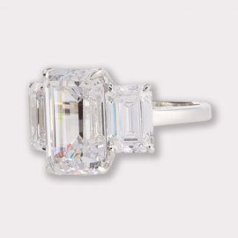 Emerald Cut CZ Ring with Baguettes