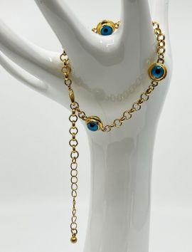 Gold 3 Evil Eye Bracelet