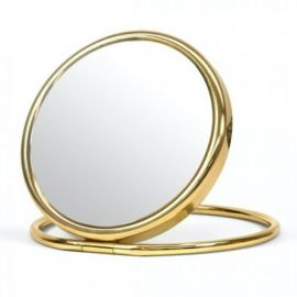 DOUBLE-SIDED TRAVEL BRASS MIRROR WITH FOLDING STAND