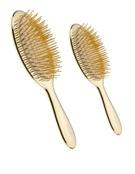Gold Hairbrush Oval with Gold Pins