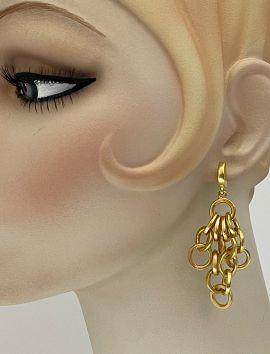 Gold Matte Waterfall Circular Earrings
