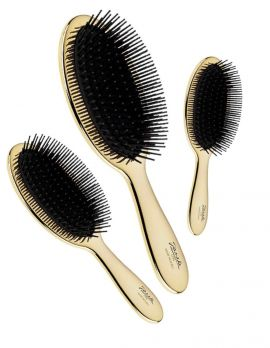 Hairbrush with Black Pins in Gold