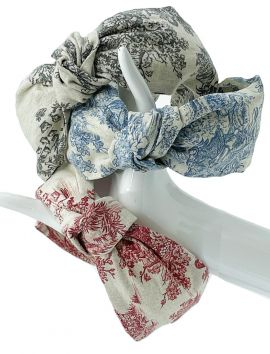 French Toile de Jouy Knotted turban headband