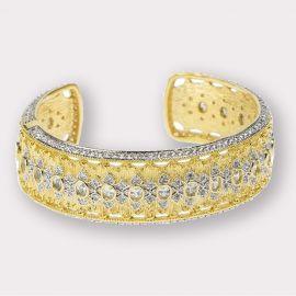 Wide CZ Hinged Cuff Bracelet