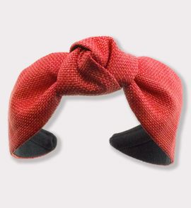 Raffia Headband with Center Knot in Red