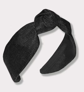 Raffia Headband with Center Knot in Black