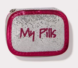 My Pills Case in Silver Glitter with Fuchsia