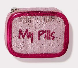 MY PILLS PILL CASE Pink Glitter with Fuchsia