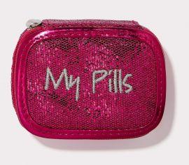 MY PILLS PILL CASE Fuchsia Glitter with Silver