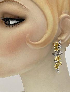 Two-Tones Flowers CZ Earrings