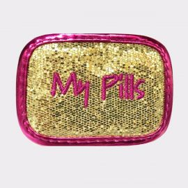 My Pills Pill Case Gold Glitter with Fuchsia