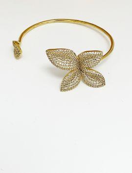Petals Micro Pave CZ Gold Bracelet