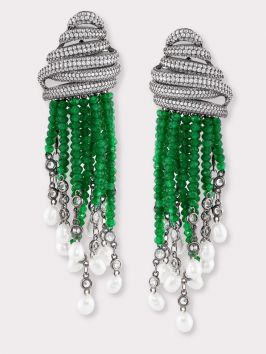 Emerald CZ Tassel Earrings