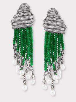Emerald CZ Tassel Earrings