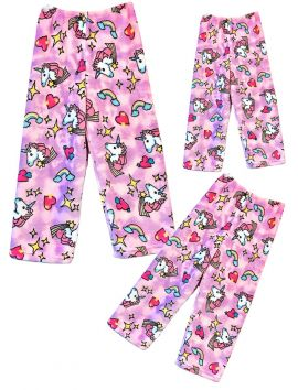 Fuzzy Flurry Pink Unicorns Pajama Pants