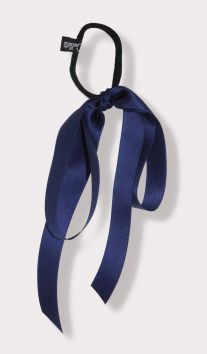 Satin Large Bow Ponytail Holder in Navy