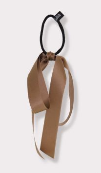 Satin Large Bow Ponytail Holder in tan