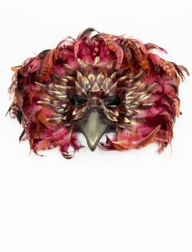 Red Phoenix with Feathers Leather Mask