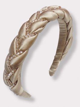 Braided Silk and Crystal Headband