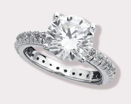 Brilliant Solitaire CZ Ring with Pavé Band