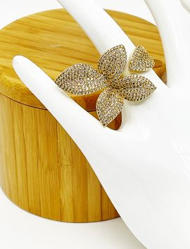 Petals Micro Pave CZ Gold Ring