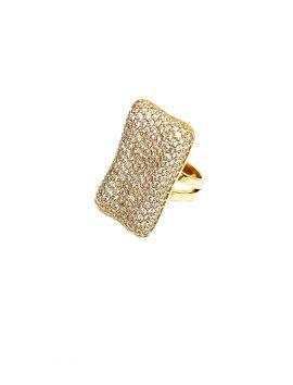 Rectangular Micro Pave CZ Gold Ring