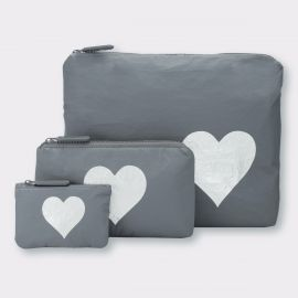 Cool Gray with Metallic Silver Heart